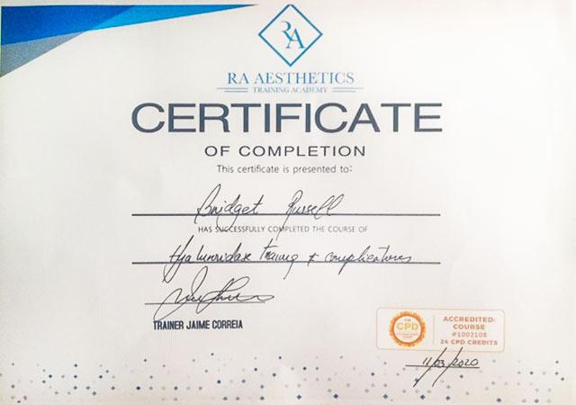 Dermal Filler Qualification Certificate