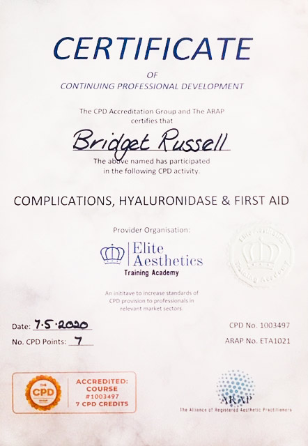 Complications, Hyaluronidase and Fiirst Aid Certificate