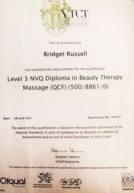 Certificate: Level 3 NVQ Diploma in Beauty Therapy Massage