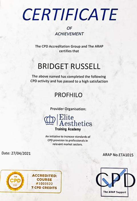 'Profhilo' Hyaluronic Acid  - Qualification Certificate