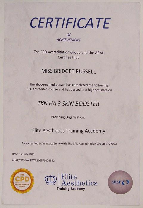 'TKN HA 3' Hyaluronic Acid  - Qualification Certificate